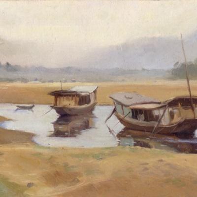 Flood Plains, Mekong River, Luang Prabang, Laos, 5 x 9 in. or 12.5 x22.5 cm., oil