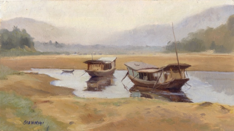 Flood Plains, Mekong River, Luang Prabang, Laos, 5 x 9 in. or 12.5 x22.5 cm., oil