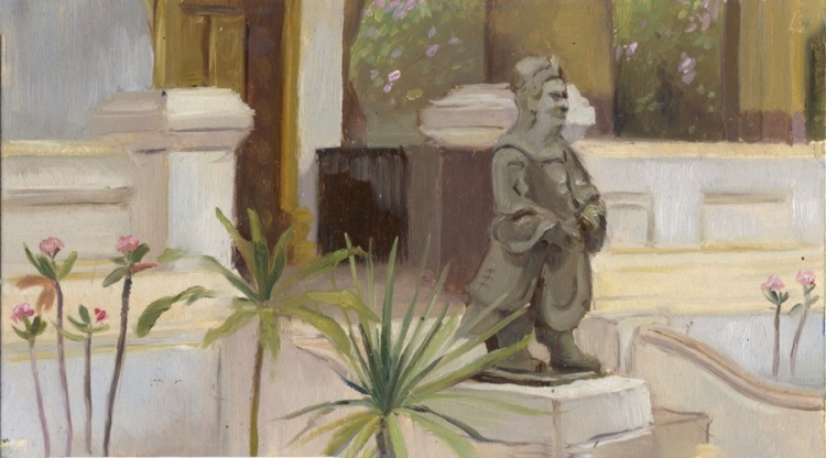 Door Gaurdian, Luang Prabang, Laos, 5 x 9 or 13 x 24 cm., oil.