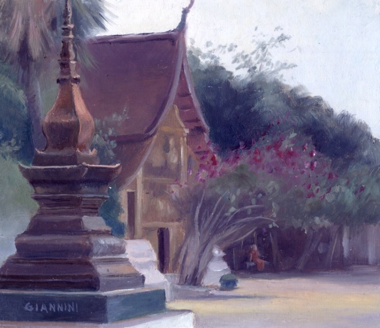 Buddhist Wat Blooming, Luang Prabang, Laos, 7 x 7 or 18 x 18 cm., oil.