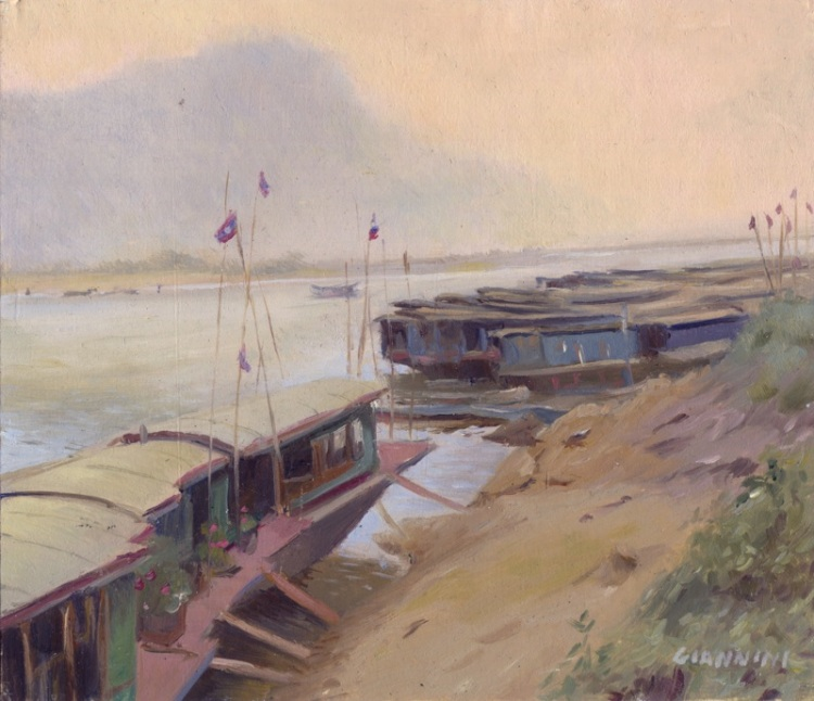 Mekong River, Luang Prabang, 7 x 7 or 18 x 18 cm., oil.