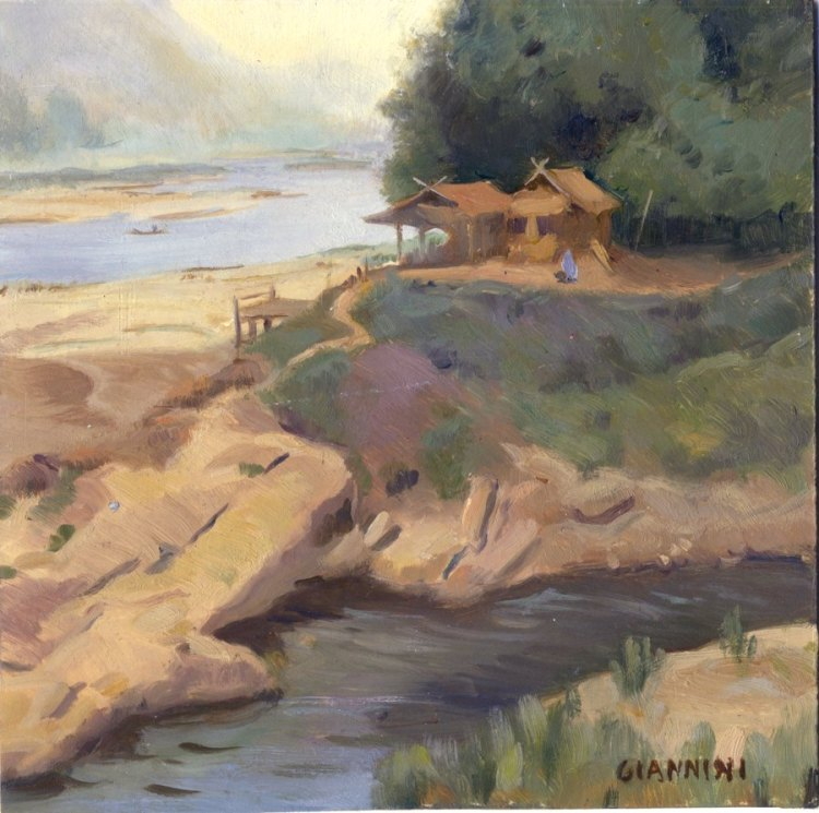 "Nam Ou River Near Muan Ngoy, Laos, 7 x 7 "" or 18 x 18cm.,oil"