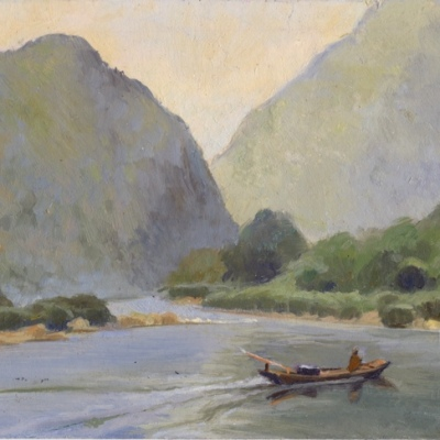 "Nam Ou River Near Muan Ngoy, Laos, 4 x 7"" or 10 x 18cm."