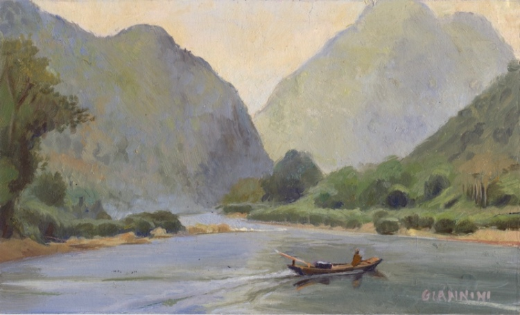 "Nam Ou River Near Muan Ngoy, Laos, 4 x 7"" or 10 x 18cm."