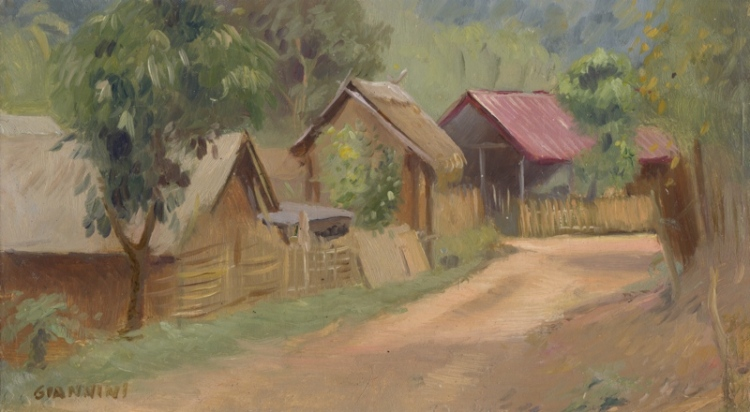 "Near Nong Khiaw, Laos 5 x 9"" or 13 x 23 cm., oil"