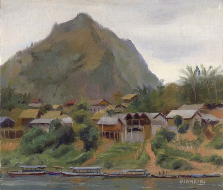 "Nong Khiaw, Laos, 7 x 7 "" or 18 x 18 cm., oil"