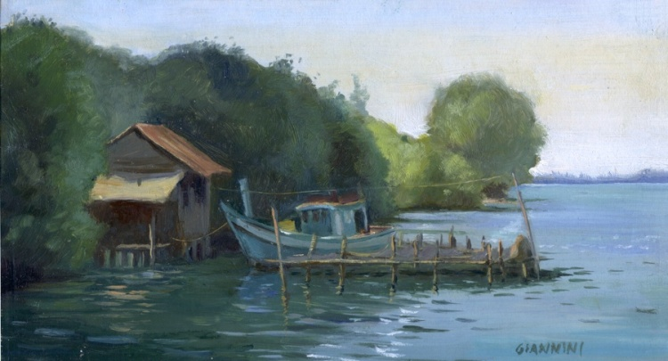 "Fisherman Shack on Otres Beach, Cambodia, 5 x 9"" or 13 x 23 cm., Oil"