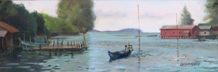 "Fisherman near Otres beach, Cambodia. 4 x 12"" or 10 x 30 cm., Oil."