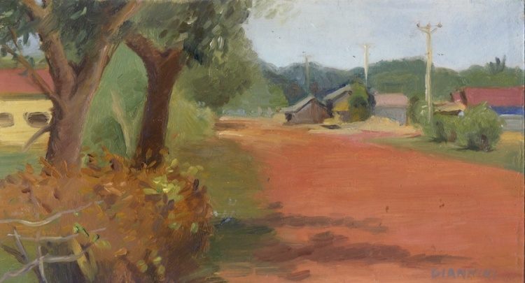 "Otres Village, Cambodia. 5 x 9"" or 13 x 23 cm., Oil."