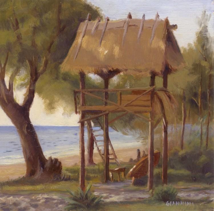 """Shanti Shanti Bungalows, Otres Beach, Cambodia. 7 x 7"""" or 18 x 18 cm.,oil."""