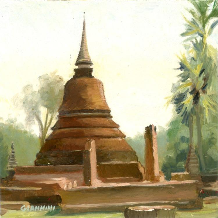 """Chedi, Sukhothai, Thailand, 7 x 7"""" or 18 x 18 cm., Oil."""