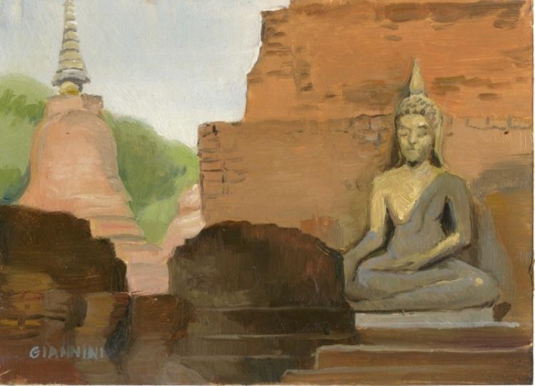 "Sukhothai, Thailand, 5 x 7"" Or 15 x 19 cm., Oil."