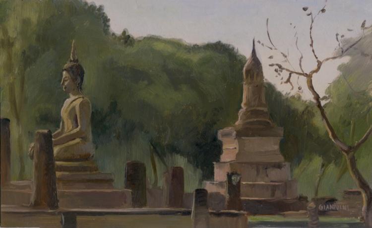 "Sukhothai, Thailand, 5 x 9"" or 13 x 23 cm., Oil."