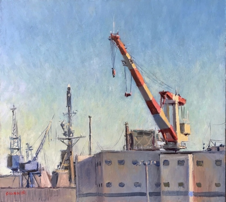 Bath Iron Works, 9 x 10 in., oil
