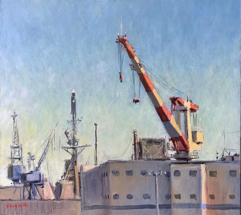 Bath Iron Works, 9 x 10 in., oil