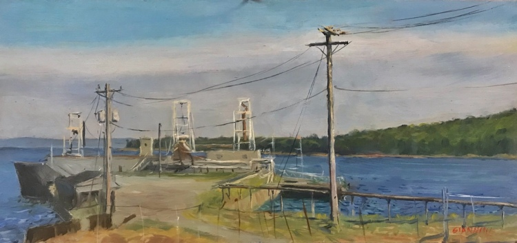 Cement Pier,Rockland, ME., 7 x 15 in., oil