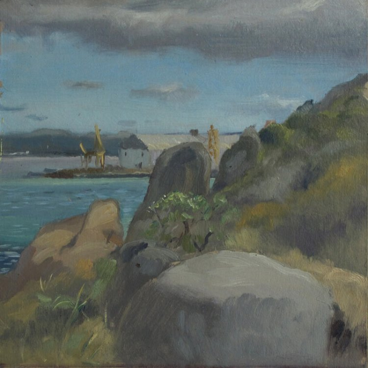 Albany Australia Coast, 7 x 7 in., Oil on Museum Board