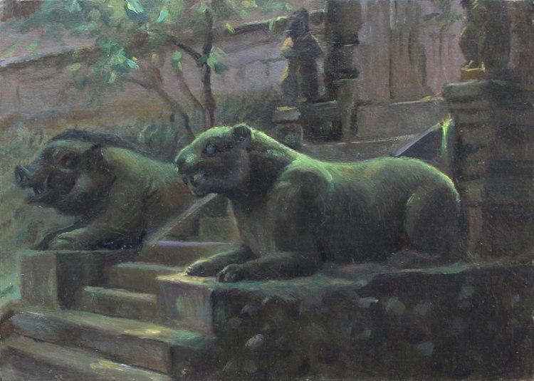 Amarsarta Temple, Bali. 7 x 10 in. Oil on Museum Board