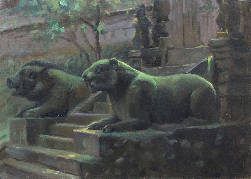 Amarsarta Temple, Bali. 7 x 10 in. Oil on Museum Board