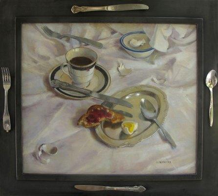 Breakfast Interrupted, 18x 21 in., oil on linen, Stephan Giannini