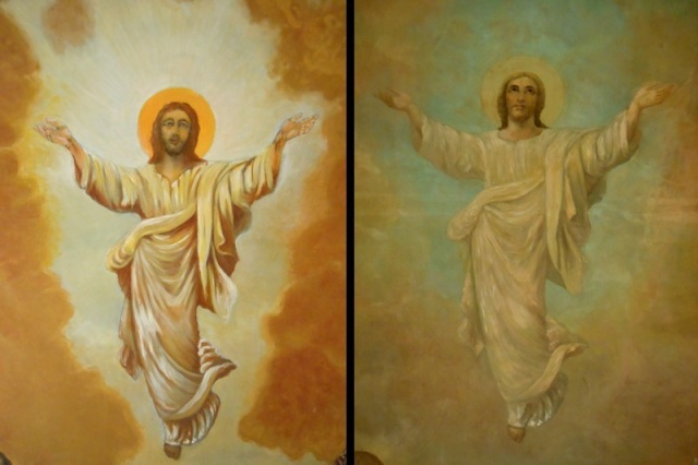 A before and after image of the progression of cleaning and conservation of the main alter mural (detail