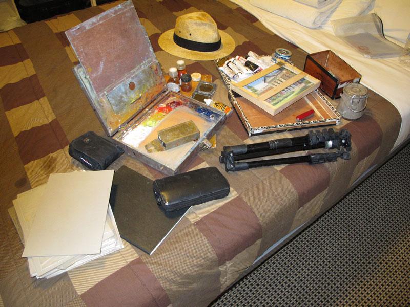 My Plein Air Equipment Assembled in my Australian Hotel