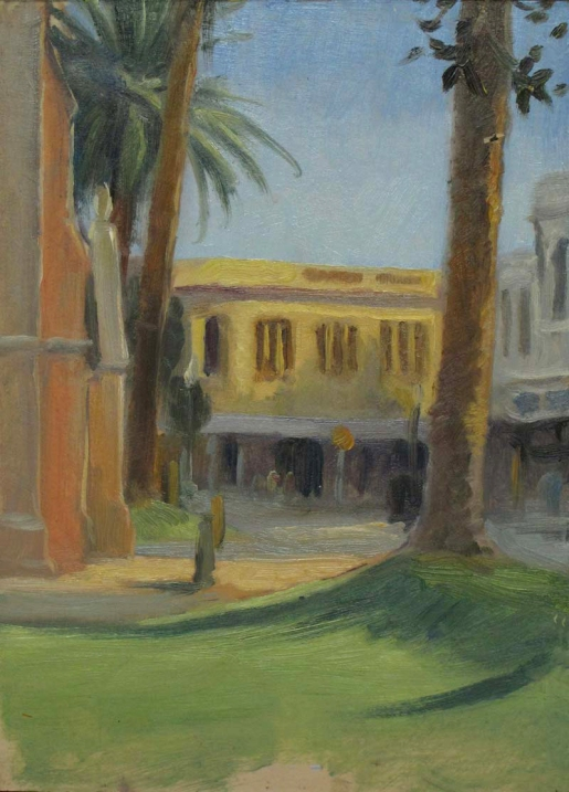 Fremont Town Square, 7 x 10 in., Oil on Museum Board