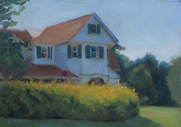 Hubbard Cottage, Campobello Island, 7 x 10 in., oil on museum board