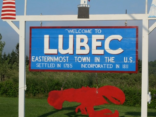 Lubec, Maine welcome sign