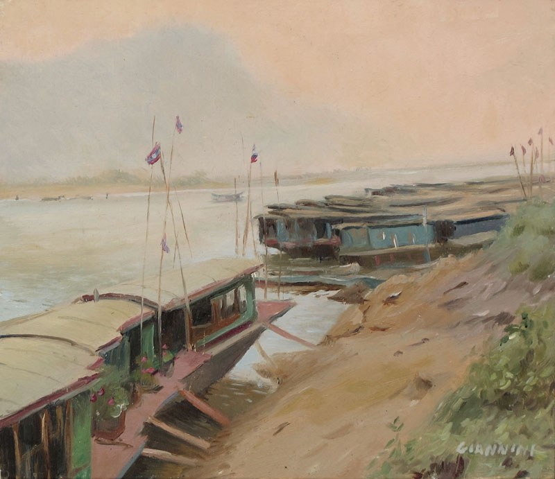 Mekong River Boats In Luang Prabang, Laos