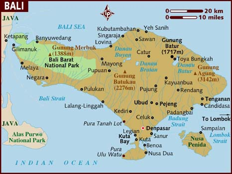 Map of Bali,Indonesia