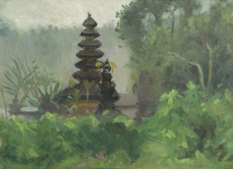 The Ulun Danu Beratan Temple, Bali, 7 x 10 in.,Oil on Museum Board