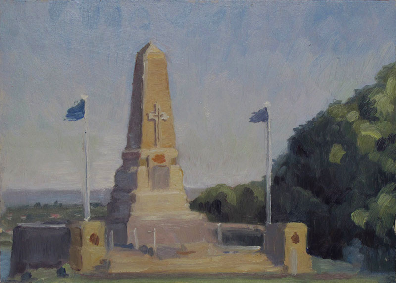 Over Perth, 7 x 10 in., Oil on Museum Board