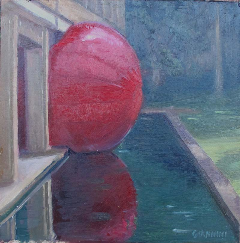 The Redball, 7 x 7 in., Oil on Museum Board
