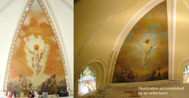 A before and after  image of cleaning and conservation result of the main alter mural